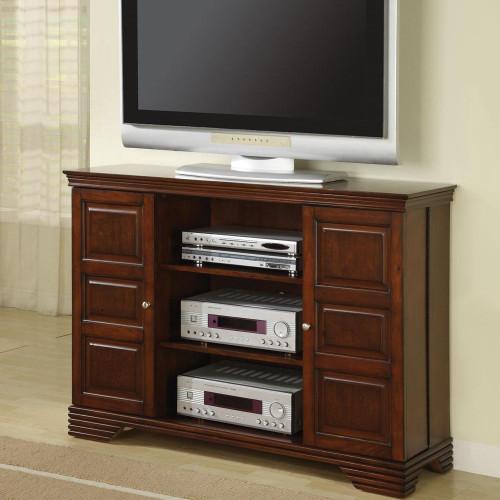 Dark Brown TV Console with Hidden Media Storage