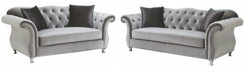 Lanah Silver Velvet Tufted Sofa & Loveseat