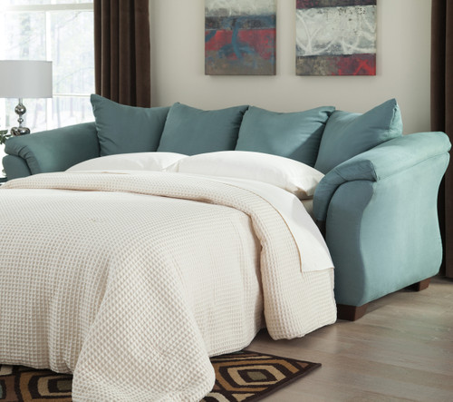 Edeline Sky Blue Full Sofa Sleeper with Mattress