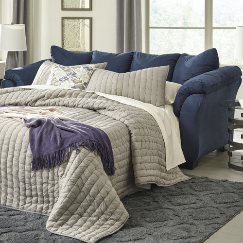 Edeline Royal Blue Full Sofa Sleeper with Mattress