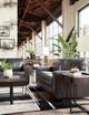"RUIZ Gray 85"" Wide 100% Leather Sofa"
