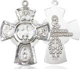 5 Way Cross Pendant, Sterling Silver - 0045SS/24S
