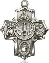 5 Way Cross Pendant, Sterling Silver - 2090SS/24S