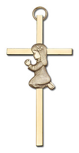 4 inch Antique Gold Praying Girl on a Polished Brass Cross