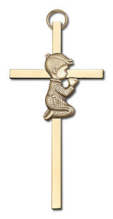 4 inch Antique Gold Praying Boy on a Polished Brass Cross