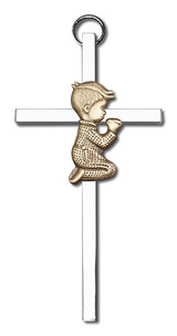 4 inch Antique Gold Praying Boy on a Polished Silver Finish Cross