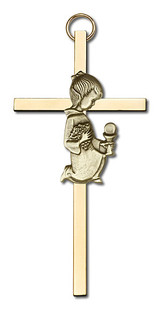 4 inch Antique Gold Communion Girl on a Polished Brass Cross