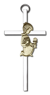 4 inch Antique Gold Communion Girl on a Polished Silver Finish Cross