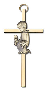 4 inch Antique Gold Communion Boy on a Polished Brass Cross