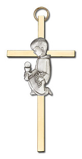4 inch Antique Silver Communion Boy on a Polished Brass Cross