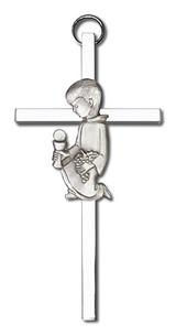 4 inch Antique Silver Communion Boy on a Polished Silver Finish Cross