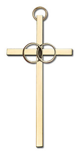 4 inch Antique Gold Wedding Rings on a Polished Brass Cross