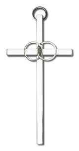 4 inch Antique Silver Wedding Rings on a Polished Silver Finish Cross