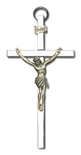4 inch Antique Gold Crucifix on a Polished Silver Finish Cross