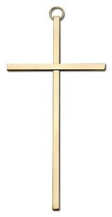 6 inch Plain Polished Brass Cross