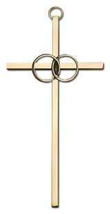 6 inch Antique Gold Wedding Rings on a Polished Brass Cross