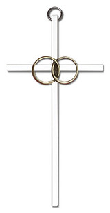 6 inch Antique Gold Wedding Rings on a Polished Silver Finish Cross