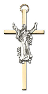 4 inch Antique Gold Risen Christ on a Polished Brass Cross