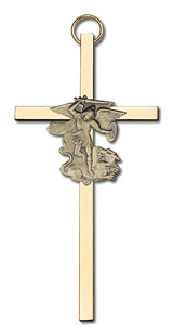 4 inch Antique Gold St. Michael on a Polished Brass Cross