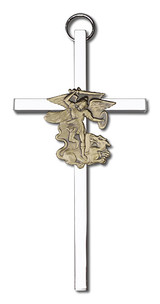 4 inch Antique Gold St. Michael on a Polished Silver Finish Cross