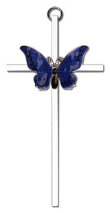 6 inch Polished Silver Finish Blue Epoxy Resurrection on a Polished Silver Finish Cross