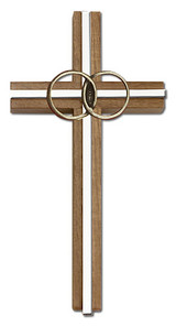 6 inch Marriage Cross, Walnut with Antique Gold inlay