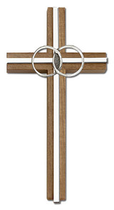 6 inch Marriage Cross, Walnut with Antique Silver inlay