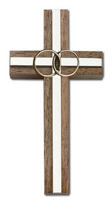 4 inch Marriage Cross, Walnut with Antique Gold inlay