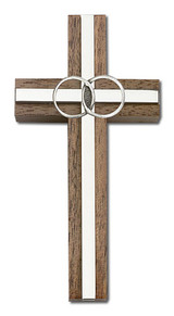 4 inch Marriage Cross, Walnut with Antique Silver inlay