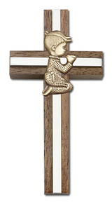 4 inch Praying Boy Cross, Walnut with Antique Gold inlay