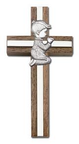 4 inch Praying Boy Cross, Walnut with Antique Silver inlay