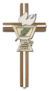 6 inch Enameled Confirmation Chalice Cross, Walnut with Antique Gold inlay