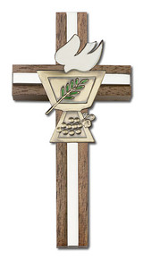 4 inch Enameled Confirmation Chalice Cross, Walnut with Antique Gold inlay