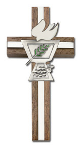 4 inch Enameled Confirmation Chalice Cross, Walnut with Antique Silver inlay