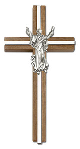 6 inch Contemporary Risen Christ Cross, Walnut with Antique Silver inlay