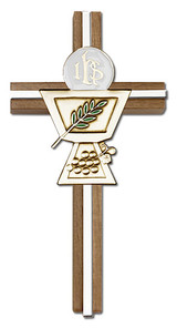6 inch Enameled Communion Chalice Cross, Walnut with Antique Gold inlay