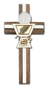 4 inch Enameled Communion Chalice Cross, Walnut with Antique Gold inlay
