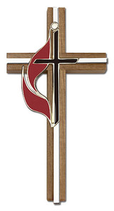 6 inch Methodist Cross, Walnut with Antique Gold inlay