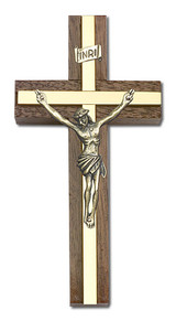 4 inch Antique Gold Crucifix, Walnut with Polished Brass inlay