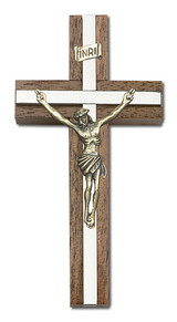 4 inch Antique Gold Crucifix, Walnut with Polished Silver Finish inlay