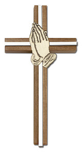 6 inch Praying Hands Cross, Walnut with Antique Gold inlay