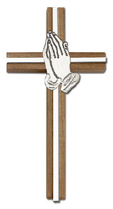 6 inch Praying Hands Cross, Walnut with Antique Silver inlay