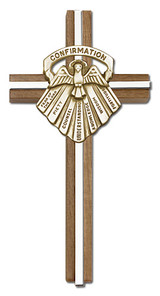 6 inch Confirmation Cross, Walnut with Antique Gold inlay