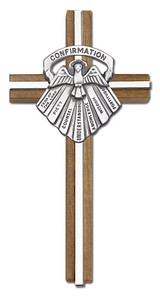 6 inch Confirmation Cross, Walnut with Antique Silver inlay