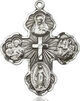 5 Way Cross Pendant, Sterling Silver - 5458SS/24S