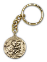 Antique Gold St. Anthony Keychain - Style 1