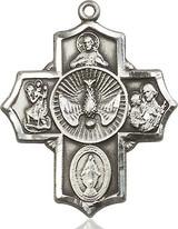 5 Way Cross Pendant, Sterling Silver - 5690SS/24S