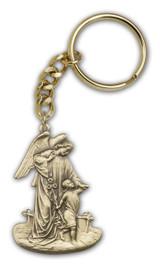 Antique Gold Guardian Angel Keychain