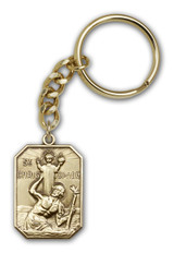 Antique Gold St. Christopher Keychain - Style 2