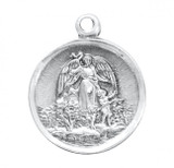 Guardian Angel Pendant Round, Sterling Silver with Chain - S159218
